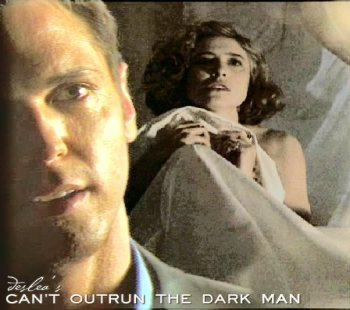 Can't Outrun The Dark Man cover art by Deslea.  Nick Lea as Alex Krycek, Mimi Rogers as Diana Fowley