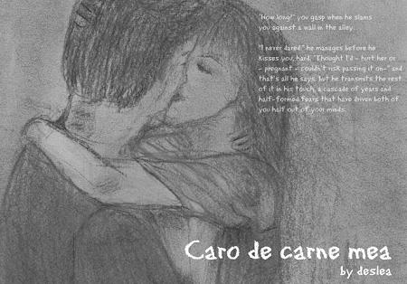 Caro de carne mea cover art by Deslea.  It's not a great sketch, but because the cover depicts a sexual situation, I wanted to avoid using the actors' likenesses as a matter of respect.