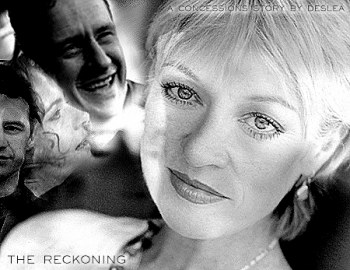 The Reckoning cover art by Deslea.  Veronica Cartwright as Cassandra Spender, Chris Owens as Jeffrey Spender, Megan Leitch as Samantha Spender.