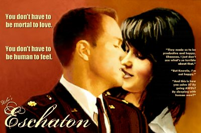 Eschaton cover art by Deslea.  Adam Baldwin as Knowle Rohrer, Lucy Lawless as Shannon McMahon.