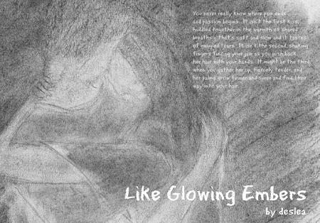 Like Glowing Embers cover art by Deslea.  I wound up going for sketch art without the actors' likenesses for this couplet of stories because the first of the two, Caro de carne mea, showed the characters in a sexual situation.