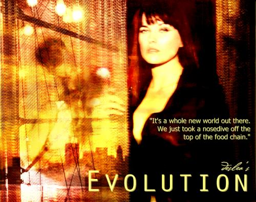 Evolution cover art by Deslea.  Adam Baldwin as Knowle Rohrer, Lucy Lawless as Shannon McMahon.
