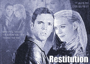 Restitution cover art by Deslea.  Nicholas Lea as Alea Krycek, Laurie Holden as Marita Covarrubias.