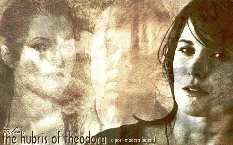 The Hubris Of Theodora cover art by Deslea.  Lucy Lawless as Shannon McMahon, Adam Baldwin as Knowle Rohrer.
