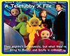 Teletubby X File cover art.  David Duchovny as Fox Mulder, Gillian Anderson as Dana Scully, some people who must have a really hot sweaty time in those suits as the Teletubbies.
