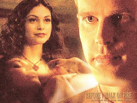 Before I Walk On Fire cover art by Deslea.  Cary Elwes as Brad Follmer, with Firefly's Morena Baccarin standing in for Yolanda Wainwright.